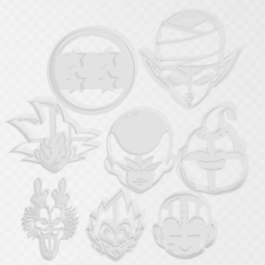 Download 3D printer templates Dragon Ball Super Bundle x 8, PrintCraft