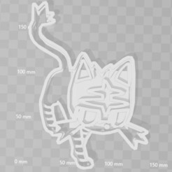 STL litten pokemon cookie cutter, PrintCraft