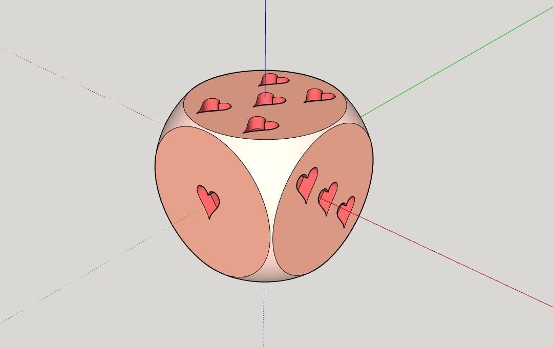 Dado_corazones.jpg Télécharger fichier STL gratuit Dado de Corazones (Les dés de cœur) • Plan pour impression 3D, celtarra12