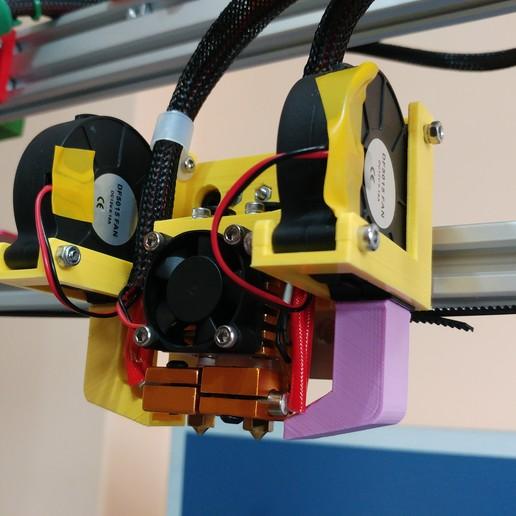 20191003_113703.jpg Télécharger fichier STL gratuit Soporte Hotend Chimera & Cyclops y 2 ventiladores de capa eje X Perfil aluminio 2020 // Soporte BMG + Hotend V6 • Objet pour impression 3D, celtarra12