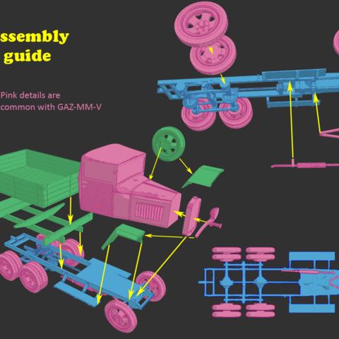 ga3.png Télécharger fichier STL gratuit Camion de guerre GAZ-AAA 1:87 (H0) • Objet à imprimer en 3D, polkin