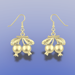Download 3D printing files POMEGRANATE EARRINGS, littleamy09