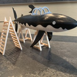 Download 3D printing files Tintin shark submarine Tintin shark, mouset74