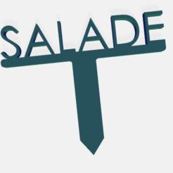salade.png Télécharger fichier STL PANNEAU ETIQUETTE POUR JARDIN POTAGER ET AROMATIQUE • Modèle à imprimer en 3D, doudou7