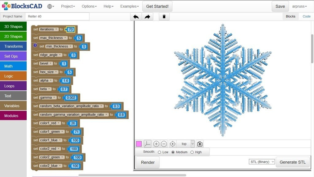 83e56b5dc7ae2270d7a0f38d9ebf65a8_display_large.jpg Download free STL file Snowflake growth simulation in BlocksCAD • 3D printing design, arpruss