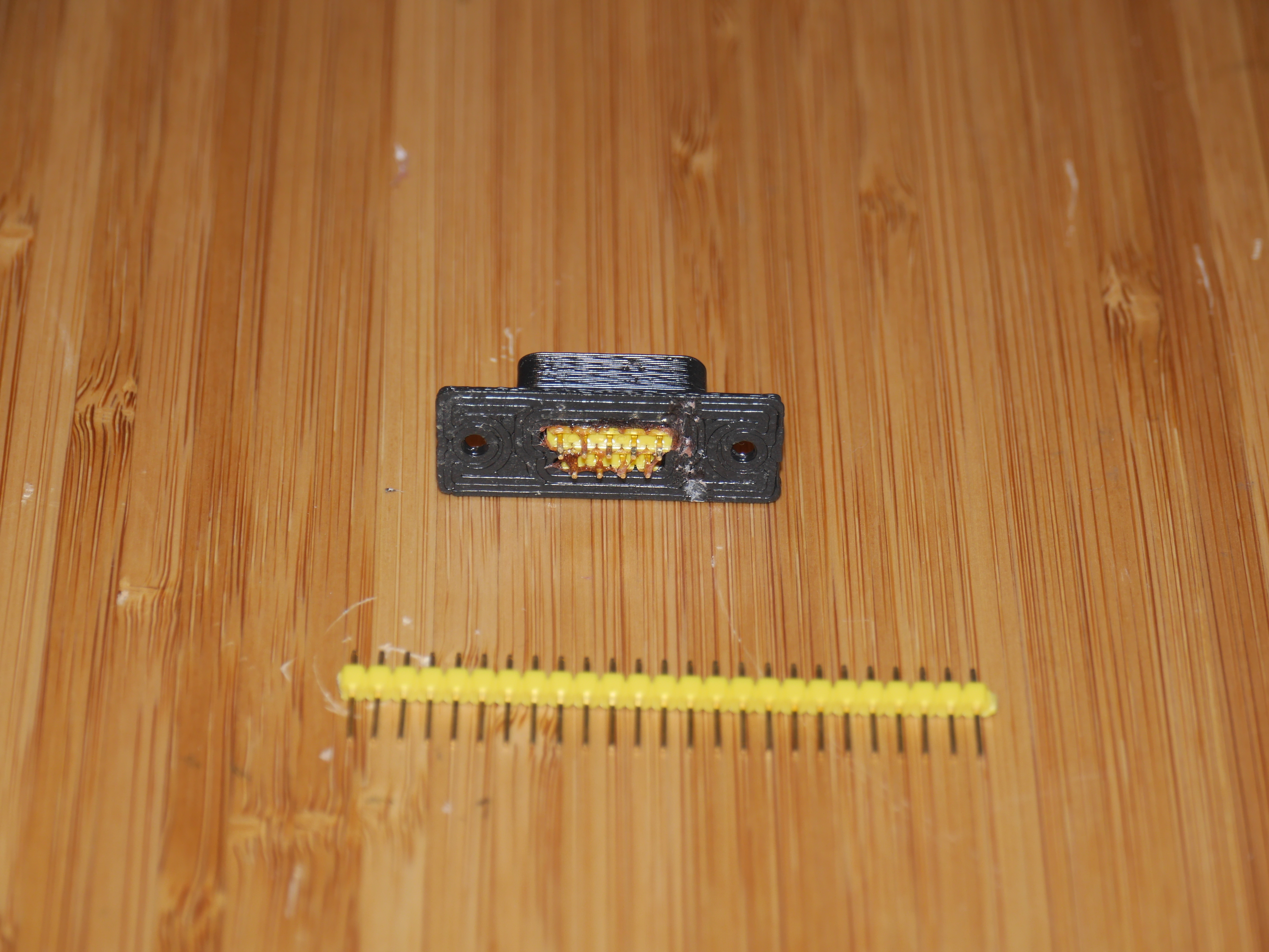 "P1080945.JPG Download free SCAD file DB9 male socket (just add 0.1"" header) • 3D printable template, arpruss"
