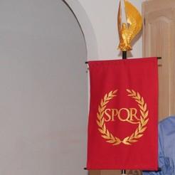 Download free STL file Roman SPQR banner stencil, arpruss