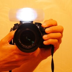 Download free STL Customizable camera flash diffuser, arpruss