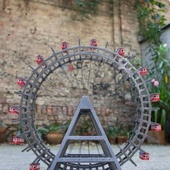 Riesenrad08_display_large.jpg Download free STL file Vienna Giant Wheel (Riesenrad) • 3D printer template, stylesuxx