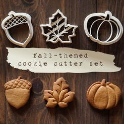 3.jpg Download 3DS file Fall-Themed Cookie Cutter Set • 3D printer object, tilbe