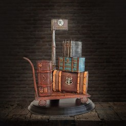 Download 3D printing designs Harry Potter Trunks Luggage Cart - Hogwarts Express, tilbe
