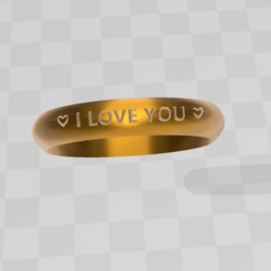 1.png Download STL file ILY RING • Template to 3D print, blackygoldcat