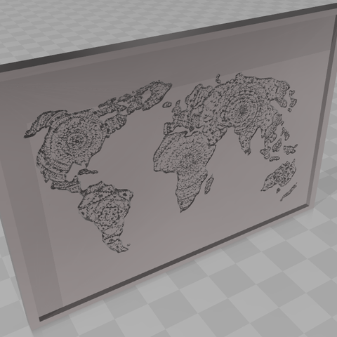 3D printer files 3D map of the world, handdrawn picture with frames, blackygoldcat