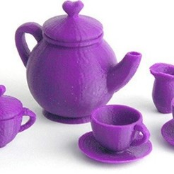 MAKIES_TeaSet_Purple_display_large.jpg Télécharger fichier STL gratuit Service à thé Makies • Design imprimable en 3D, Makies