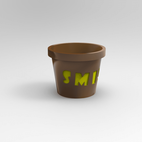 untitled.95.png Download free STL file words planter: smile, amor / planter • 3D printable template, allv