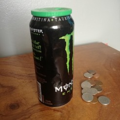 Free STL piggy bank cap for monster can, allv