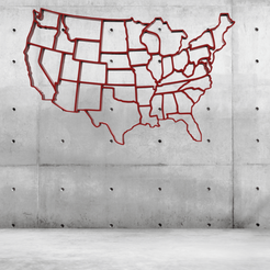 Download free 3D printer templates USA WALL MAP, allv