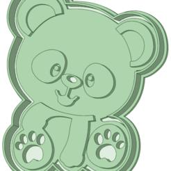 Panda_e.png Télécharger fichier STL Un moule à biscuits entier pour les pandas • Design imprimable en 3D, osval74