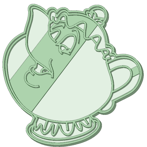 3D printing model Teapot Beauty and the Beast cookie cutter, osval74