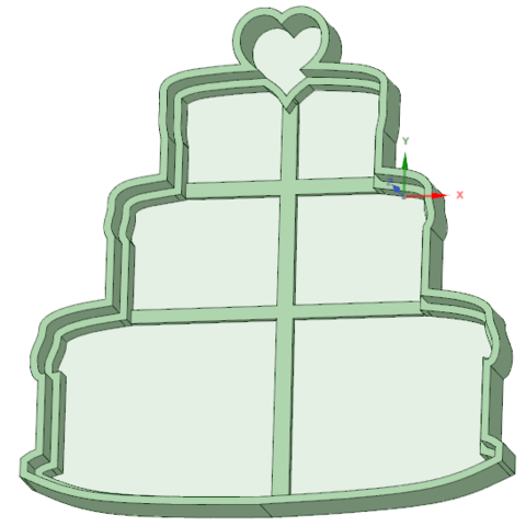 3D Printer Files Birthday Cake With Heart Cookie Cutter Osval74