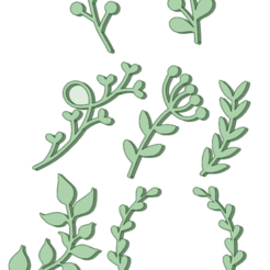 Ramas_e.png Download STL file Set stamp branches 35 mm • 3D printing object, osval74