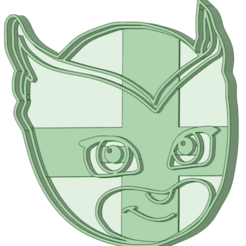 Download 3D printing templates PJ Mask Owlette face cookie cutter, osval74