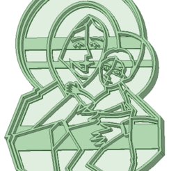 Maria_e.png Download STL file Maria and the kid cookie cutter • 3D printing design, osval74