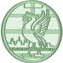 Medalla_e.png Download STL file Liverpool championship 19/20 medal cookie cutter • 3D printing model, osval74