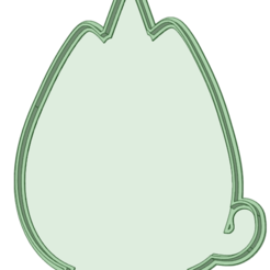 2 contorno.png Download STL file Pusheen Cat 2 contour cookie cutter • 3D printable template, osval74