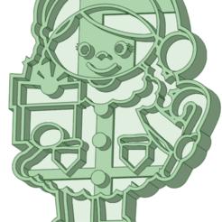 NN_e.png Télécharger fichier STL La fille qui aide le Père Noël à couper les biscuits • Modèle pour impression 3D, osval74