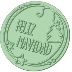 Feliz Navidad_e.png Download STL file Stamp Merry Christmas 6cm • Model to 3D print, osval74