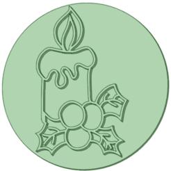 Velas_e.png Download STL file Stamp Christmas candles 6cm • 3D printing design, osval74