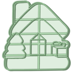 Casa Navidad_e.png Download STL file Christmas house with pine tree and cookie cutter • 3D printing model, osval74