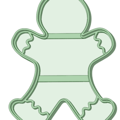 Download STL Ginger cookie with cookie cutter outline, osval74