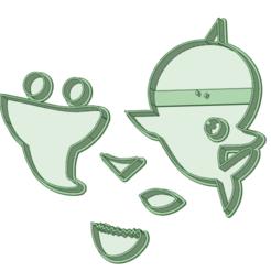 1_e.png Download STL file Baby Shark 1 Fondant cutter • 3D printer model, osval74