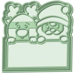 Reno y papa_e.png Télécharger fichier STL Renne et Père Noël avec une enseigne en forme d'emporte-pièce • Plan à imprimer en 3D, osval74