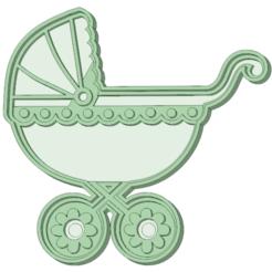 Descargar archivos 3D Cochecito 1 bebe cookie cutter    , osval74