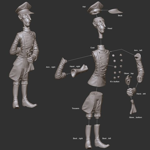Kyrgstzt_assembly_display_large.jpg Download free STL file Kyrgstzt - Driver and Chemist (Margo Movie Character) • Object to 3D print, boldmachines