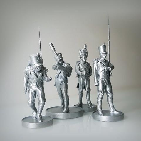 Modèle 3D Pack of 4 Napoleonic soldiers., Alphonse_Marcel