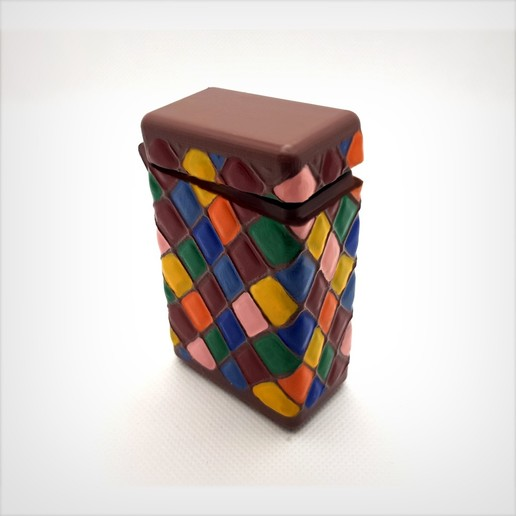 Télécharger STL Box with hinge, printed with a block, harlequin patterns., Alphonse_Marcel