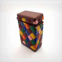 Download 3D print files Box with hinge, printed with a block, harlequin patterns., Alphonse_Marcel