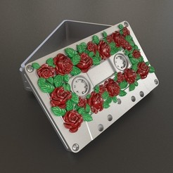 Vignette_Roses_Tape_02.jpg Download STL file Roses audio cassette box. • 3D print design, Alphonse_Marcel