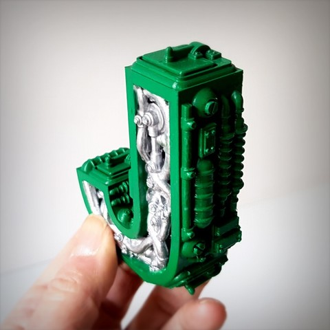 Download 3D printing templates Steampunk letter J, Alphonse_Marcel