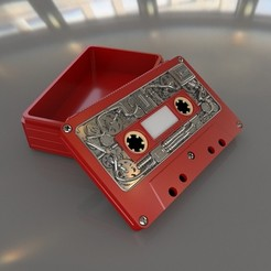 Vignette_Teampunk_Tape_03.jpg Download STL file Steampunk audio cassette box. • 3D printable template, Alphonse_Marcel