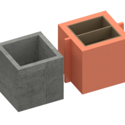 1.png Download STL file Square cement pot mould -Pot mould cube • Design to 3D print, Nicolaspelayo1