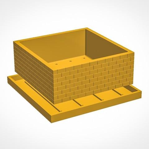 Free 3D print files Brick Wall Pot, simonprints