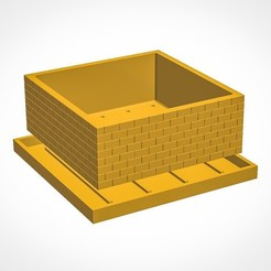 Free 3d print files Brick Wall Pot, simonprints