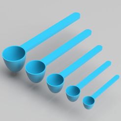render.png Download STL file Measurement Scoops (5 different sizes) • 3D print model, simonprints