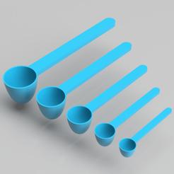 render.png Descargar archivo STL Cucharas de medición (5 tamaños diferentes) • Plan imprimible en 3D, simonprints