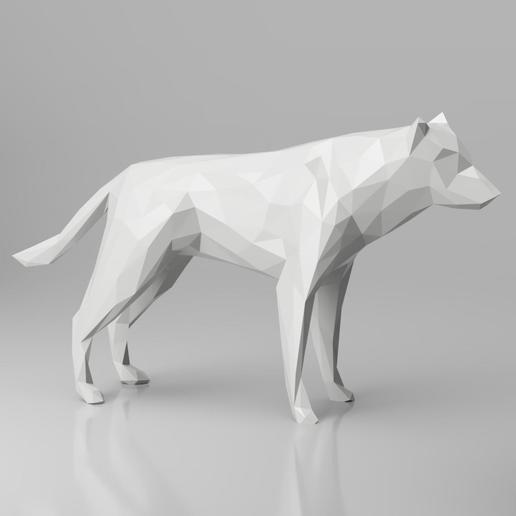 Download 3D model Low Poly Dog/Wolf Sculpture 3D Model, simonprints